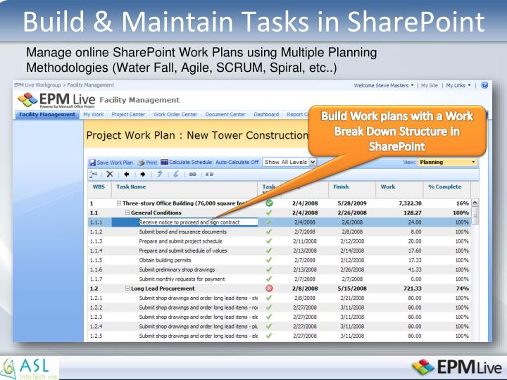 Build & Maintain Tasks in SharePoint