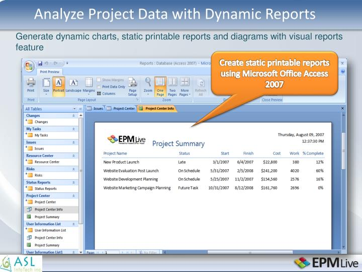 Analyze Project Data with Dynamic Reports
