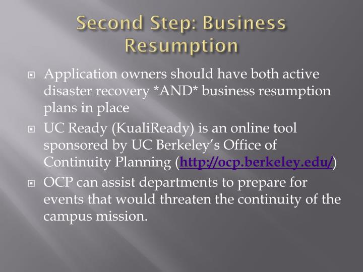 Second Step: Business Resumption