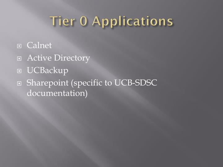Tier 0 Applications