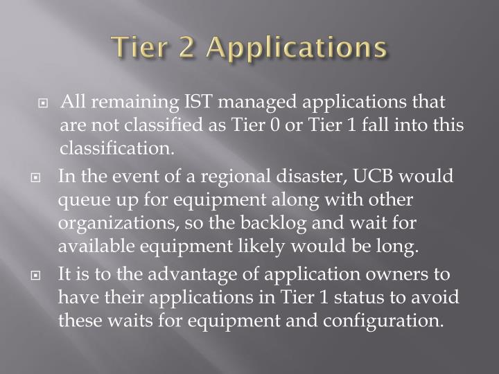 Tier 2 Applications