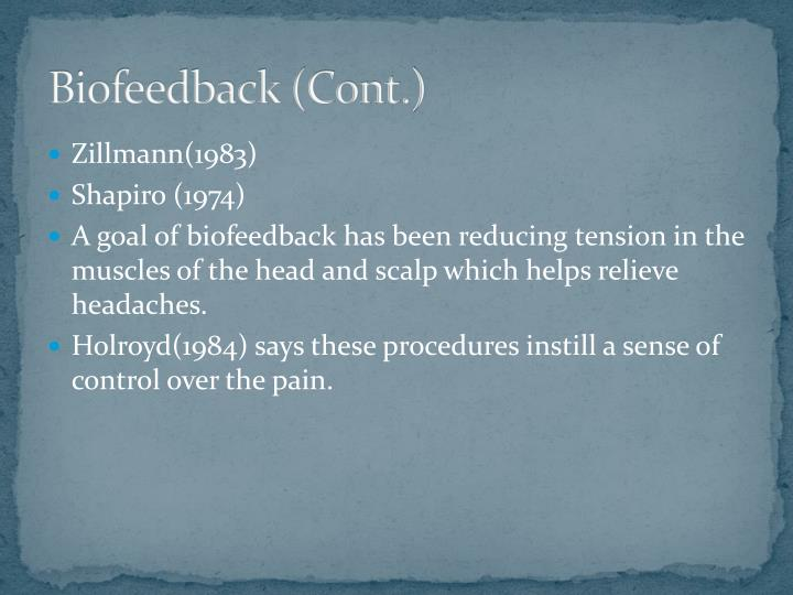 Biofeedback (Cont.)