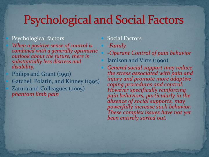 Psychological and Social Factors