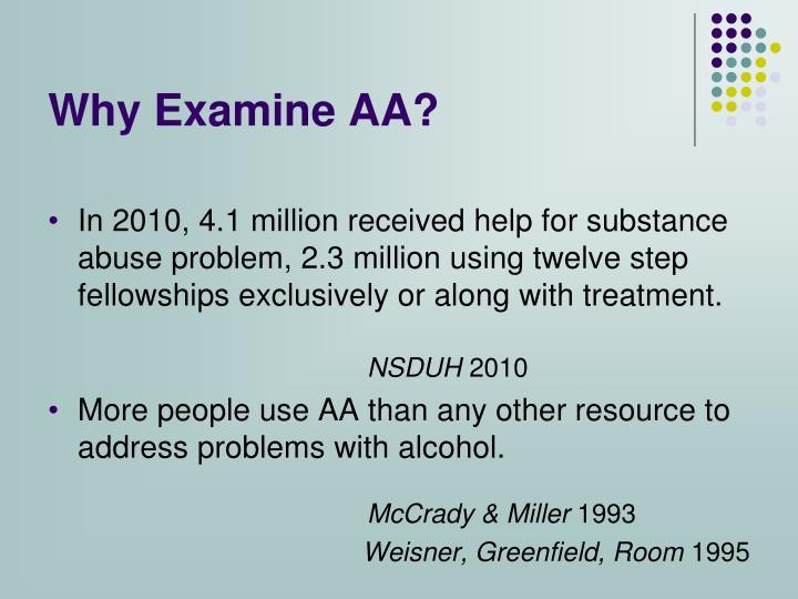 Why Examine AA?