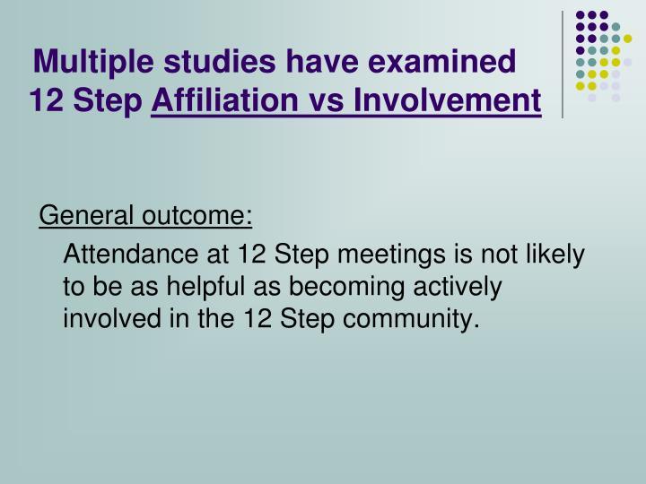 Multiple studies have examined 12 Step