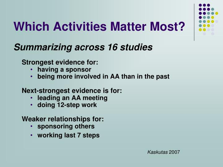 Which Activities Matter Most?