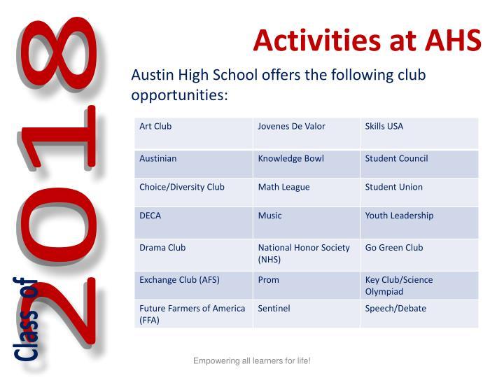 Activities at AHS