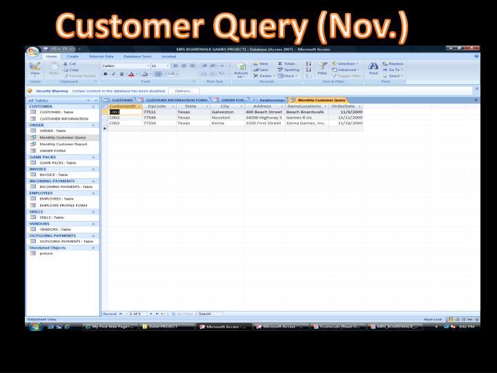 Customer Query (Nov.)