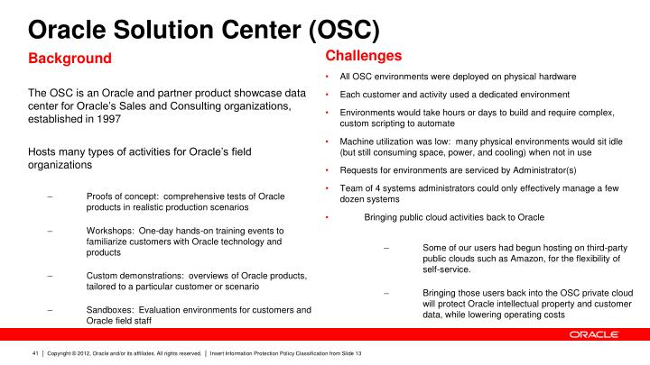 Oracle Solution Center (OSC)