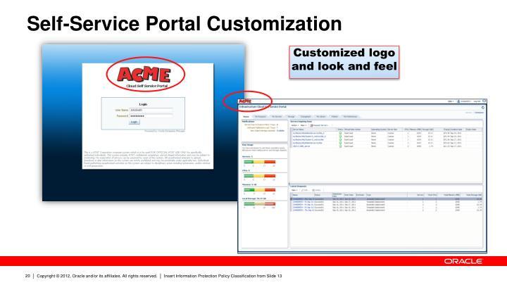 Self-Service Portal Customization
