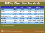 2013 mixed year for yields