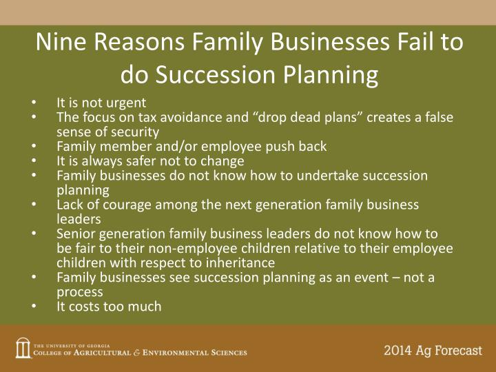 Nine Reasons Family Businesses Fail to do Succession Planning