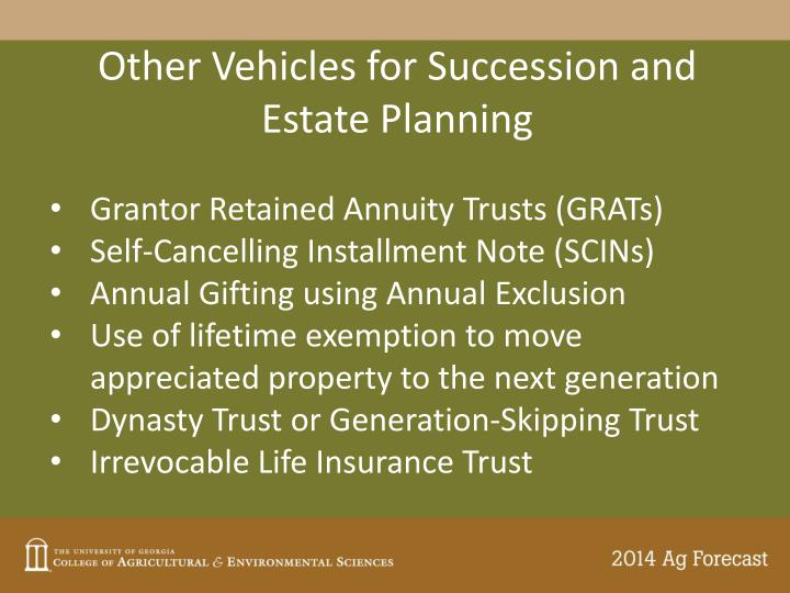 Other Vehicles for Succession and Estate Planning