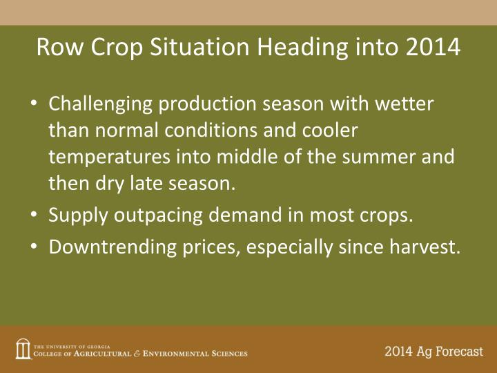 Row Crop Situation Heading into 2014