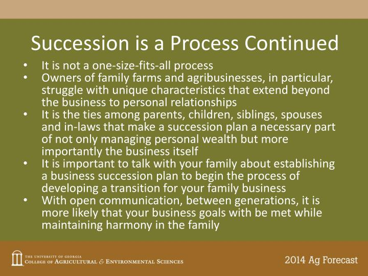 Succession is a Process Continued