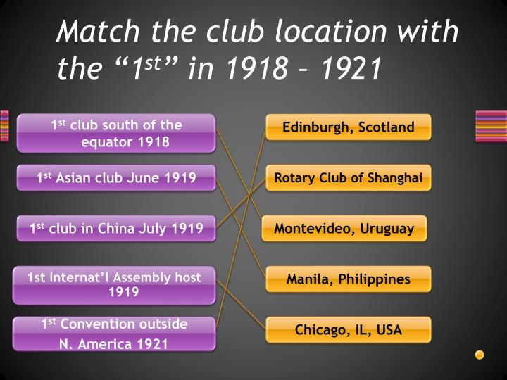 "Match the club location with the ""1"