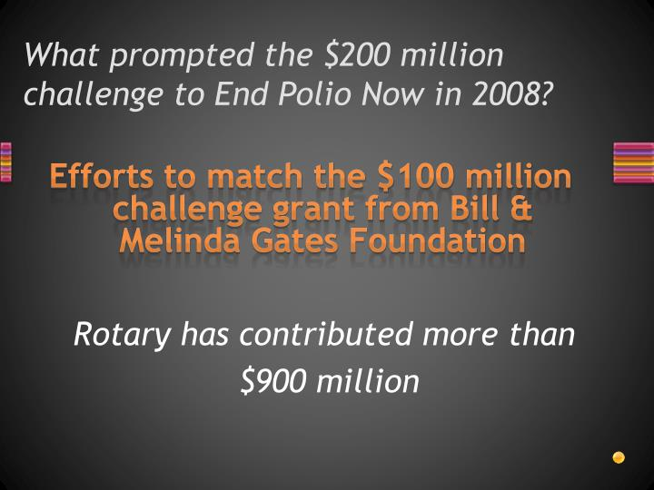 What prompted the $200 million challenge to End Polio Now in 2008?