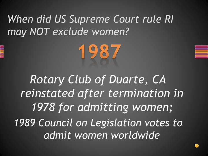 When did US Supreme Court rule RI may NOT exclude women?