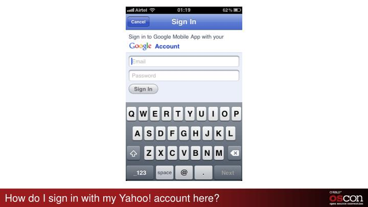 How do I sign in with my Yahoo! account here?