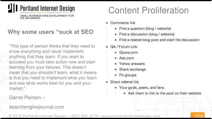 Content Proliferation