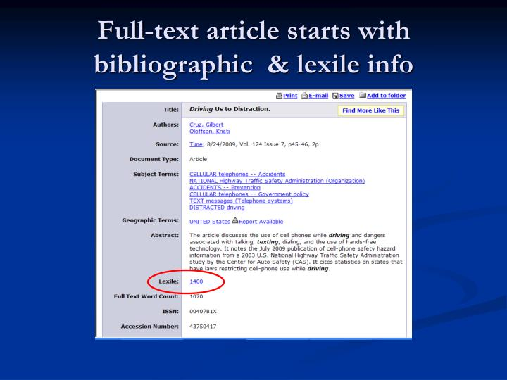 Full-text article starts with bibliographic  &