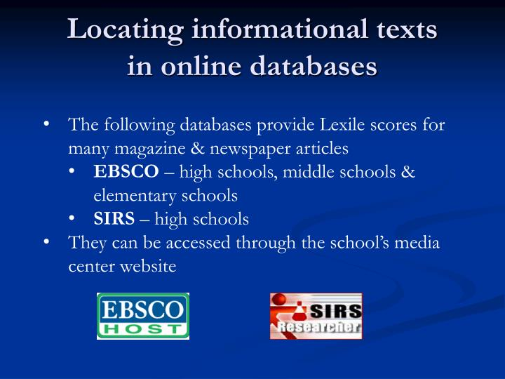 Locating informational texts