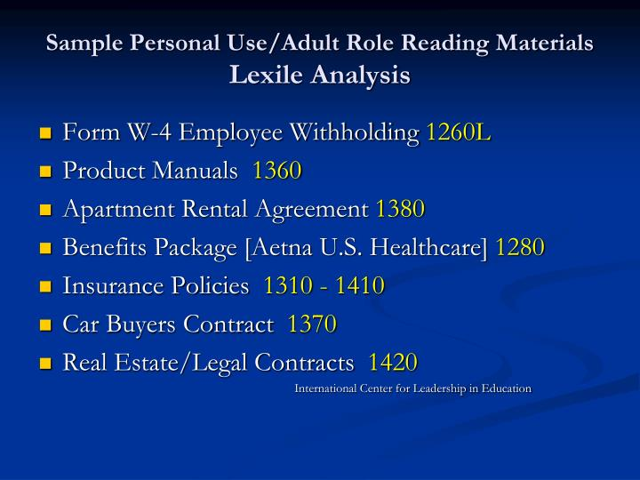 Sample Personal Use/Adult Role Reading Materials