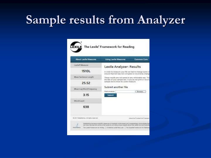 Sample results from Analyzer