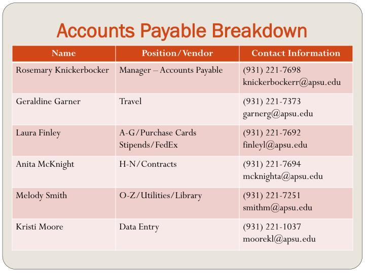 Accounts Payable Breakdown
