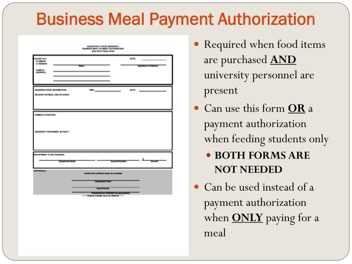 Business Meal Payment Authorization