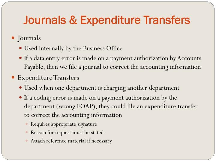 Journals & Expenditure Transfers
