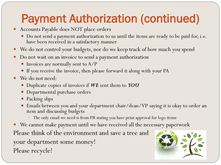 Payment Authorization (continued)