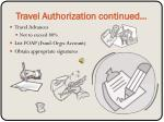 travel authorization continued