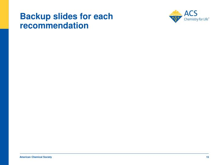 Backup slides for each recommendation