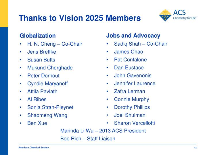 Thanks to Vision 2025 Members