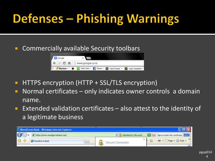 Defenses – Phishing Warnings