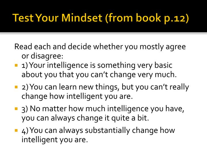 Test Your Mindset (from book p.12)