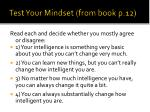test your mindset from book p 12