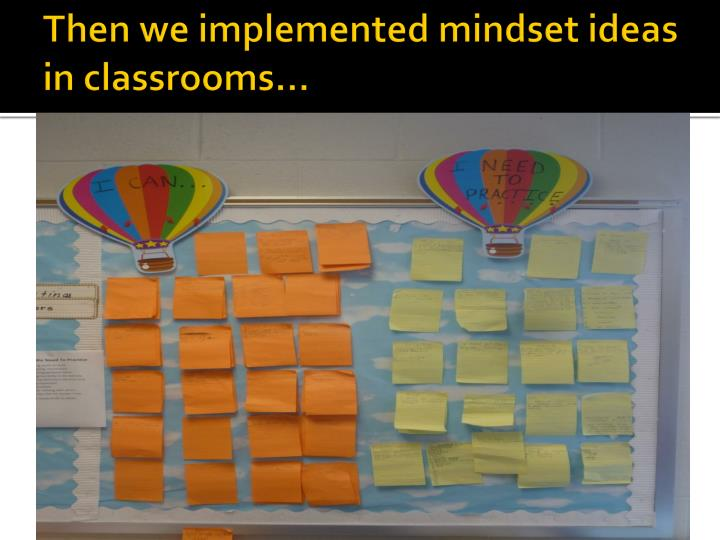 Then we implemented mindset ideas in classrooms…