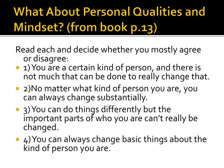 What About Personal Qualities and Mindset? (from book p.13)