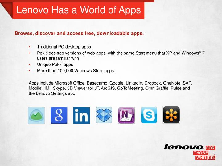 Lenovo Has a World of Apps