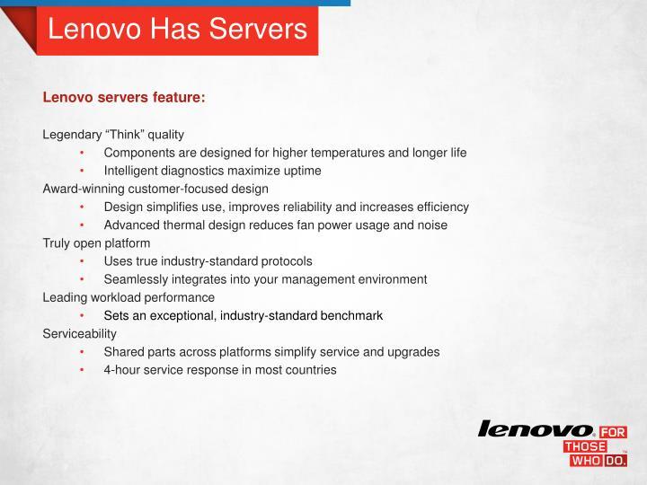 Lenovo Has Servers
