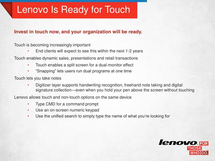 Lenovo Is Ready for Touch