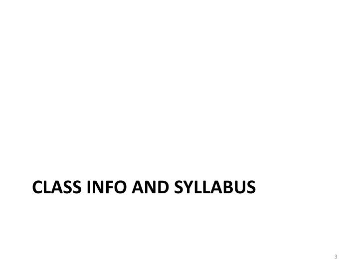 Class info and syllabus