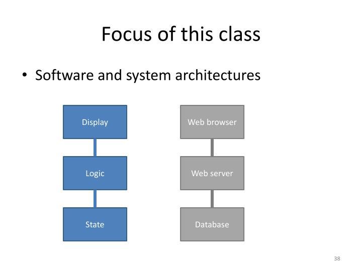 Focus of this class