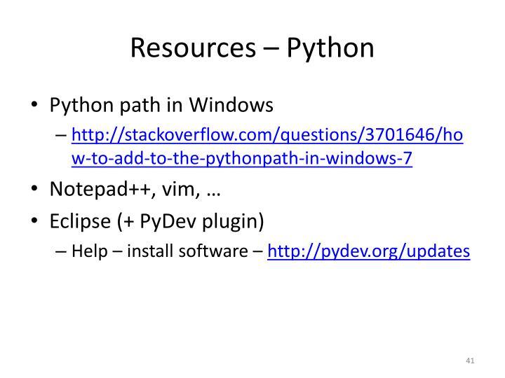 Resources – Python