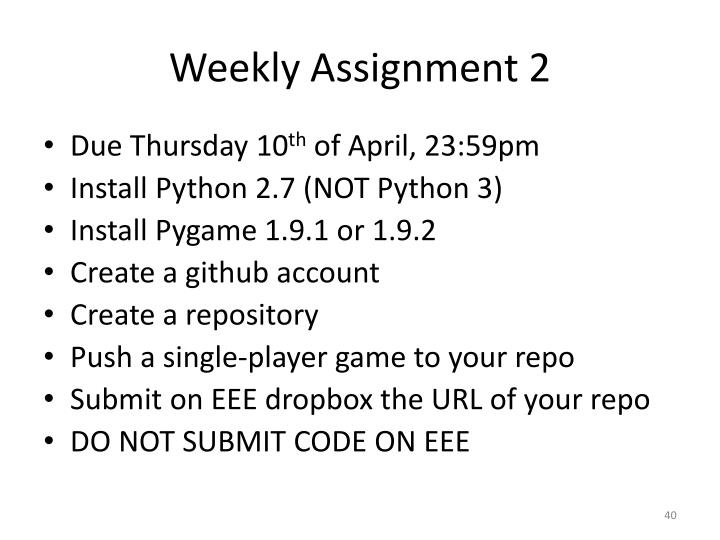 Weekly Assignment 2