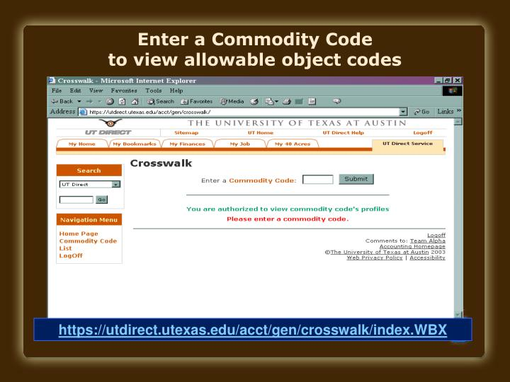 Enter a Commodity Code