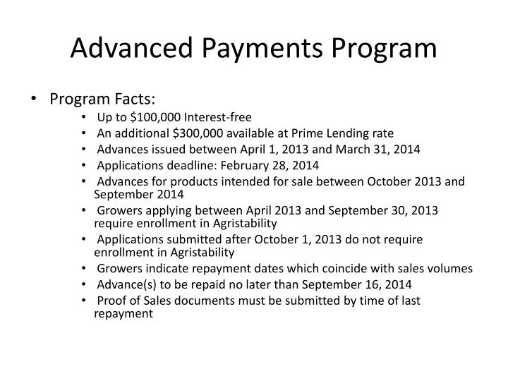 Advanced Payments Program