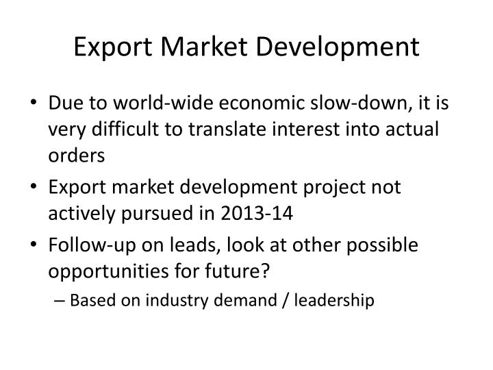 Export Market Development